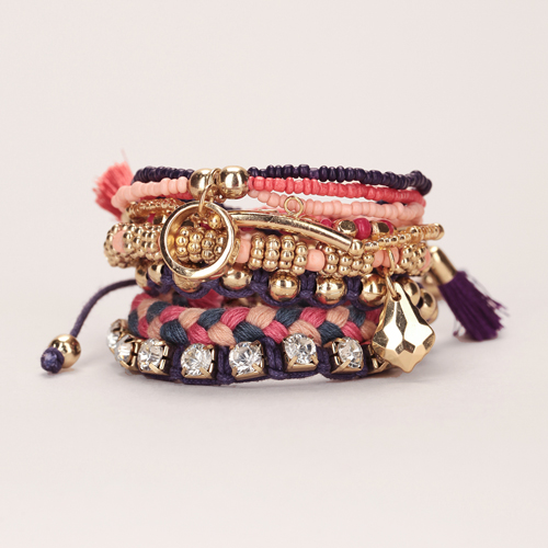 PIECES-Lot-6-bracelets-dorés-perles-rose-violet-pampilles